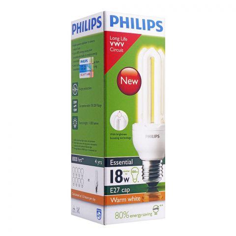 Philips Essential Energy Saver Bulb, 18W, E27 Cap, Warm White