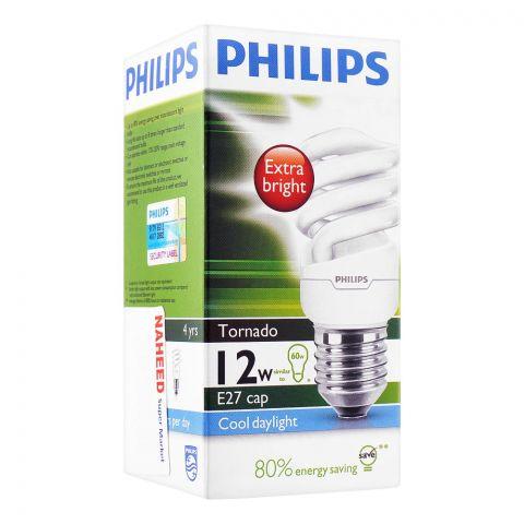 Philips Tornado Energy Saver Bulb, 12W, E27 Cap, Cool Daylight