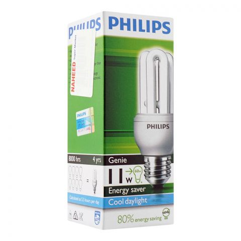 Philips Genie Energy Saver Bulb, 11W, E27 Cap, Cool Daylight
