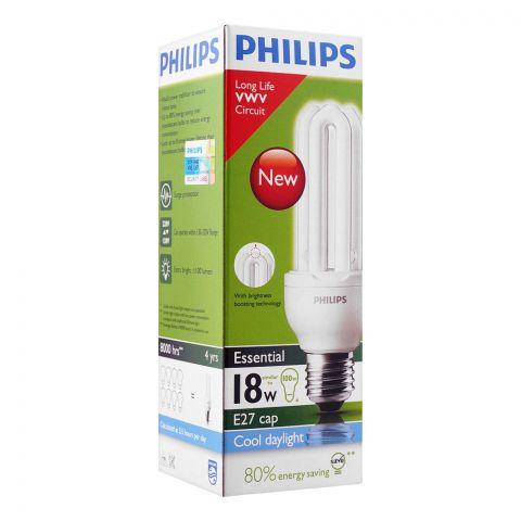 Philips Essential Energy Saver Bulb, 18W, E27 Cap, Cool Daylight