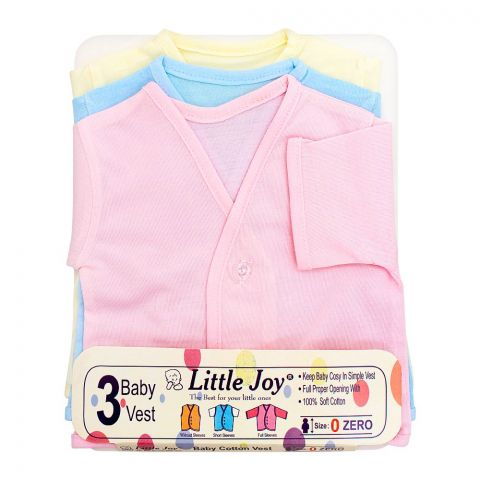 Little Joy Half Sleeves Kids' Cotton Vest, 3-Pack, Multi Colour