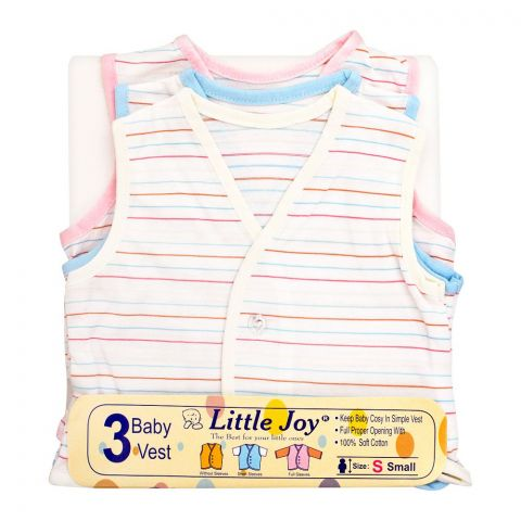 Little Joy Sleve Less Kid's Vest,  3-Pack, Multi Color