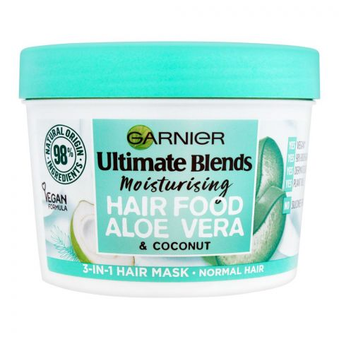 Garnier Ultimate Blends Moisturizing Hair Food, 3-In-1 Hair Mask, Aloe Vera & Coconut, Normal Hair, 390ml
