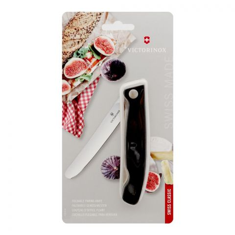 Victorinox Swiss Classic Foldable Paring Plain Knife, Black, 6.7803.FB