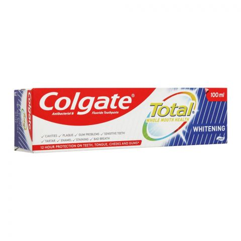 Colgate Total Whitening Antibacterial & Fluoride Toothpaste, Imported, 100ml