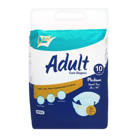 Cure Adult Care Diapers, Medium, 28x44 Inches, 10-Pack