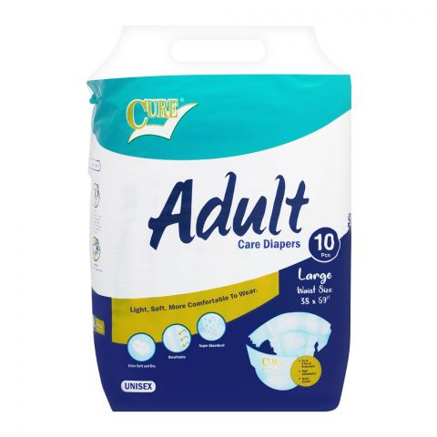 Cure Adult Care Diapers, Large, 38x59 Inches, 10-Pack