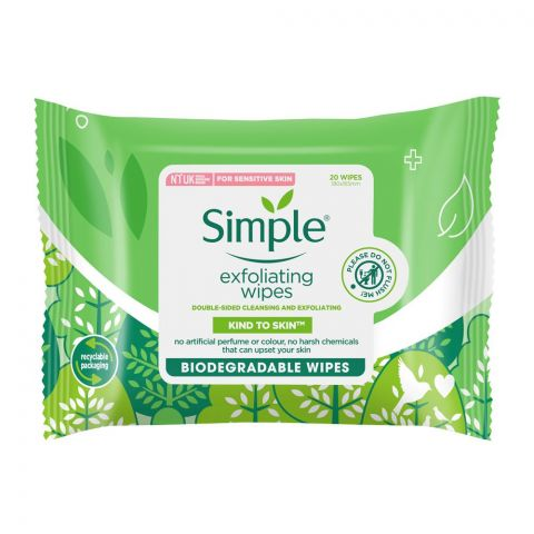 Simple Kind to Skin Exfoliating Biodegradable Facial Wipes, For Sensitive Skin, 25-Pack