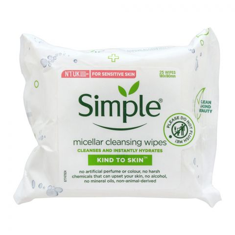Simple Kind to Skin Micellar Cleansing Wipes, For Sensitive Skin, 25-Pack
