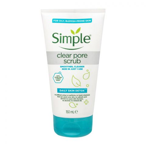 Simple Daily Skin Detox Clear Pore Scrub, For Oily & Blemish-Prone Skin, 150ml