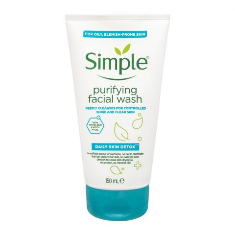 Simple Daily Skin Detox Purifying Facial Wash, For Oily & Blemish-Prone Skin, 150ml