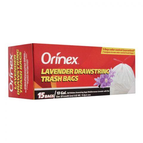 Orinex Lavender Drawstring Trash Bags, 15 Bags/30Gal