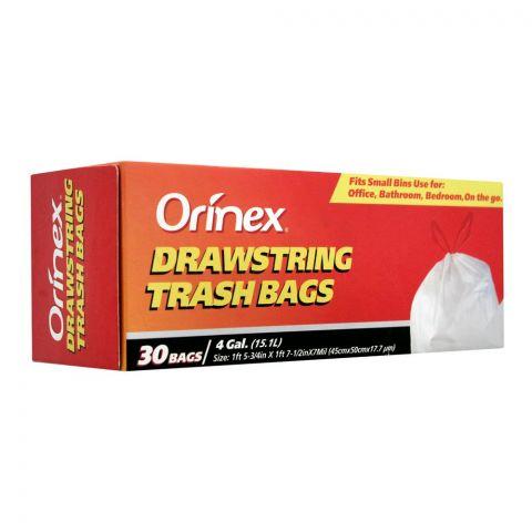 Orinex Drawstring Trash Bags, 30 Bags/4Gal