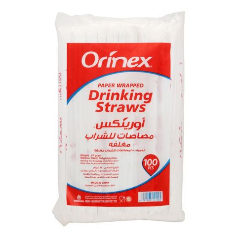 Orinex Drinking Straws Paper Wrapped, 100-Pack