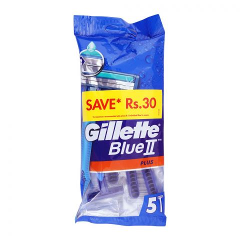 Gillette Blue II Plus Disposable Razor, 5-Pack