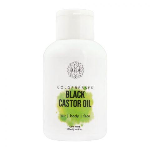 Aura Coldpressed Black Castor Oil, Hair + Body + Face, 100ml