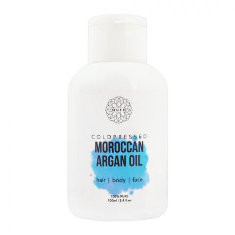 Aura Coldpressed Moroccan Argan Oil, Hair + Body + Face, 100ml