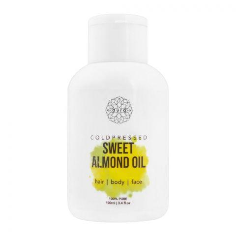 Aura Coldpressed Sweet Almond Oil, Hair + Body + Face, 100ml