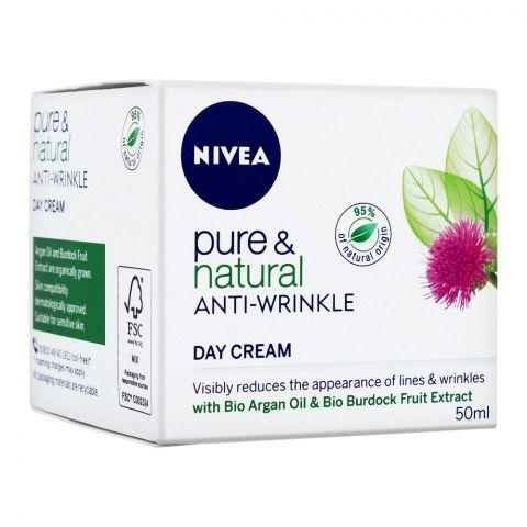 Nivea Pure & Natural Anti-Wrinkle Day Cream, 50ml