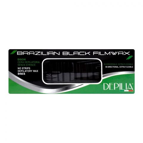 Depilia Brazilian Black Filmwax, No Strips Depilatory Wax Discs, 400ml