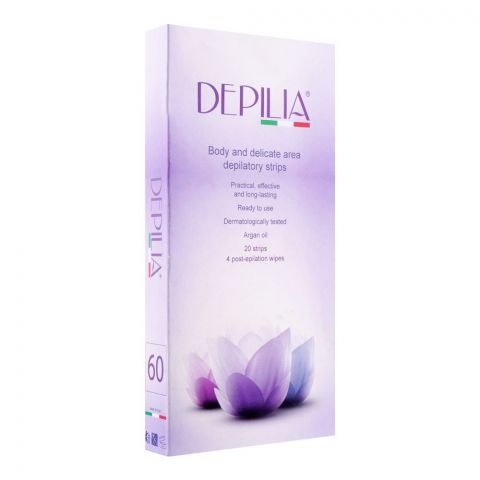 Depilia Argan Oil Body And Delicate Area Depilatory 60mm Strips, 20-Pack