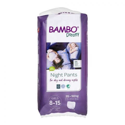 Bamboo Dreamy Night Girls Pant, 8-15 Years, Large, 10-Pack