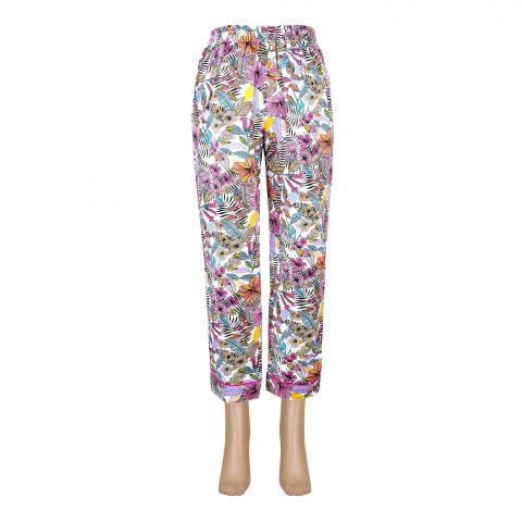 Basix Women's Linen Pajama, Pink Yellow White Flower, 101