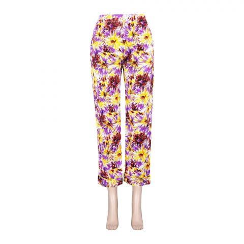 Basix Women's Linen Pajama, Yellow Purple Flower, 102