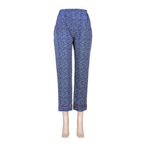 Basix Women's Linen Pajama, Blue With White Dots, 104