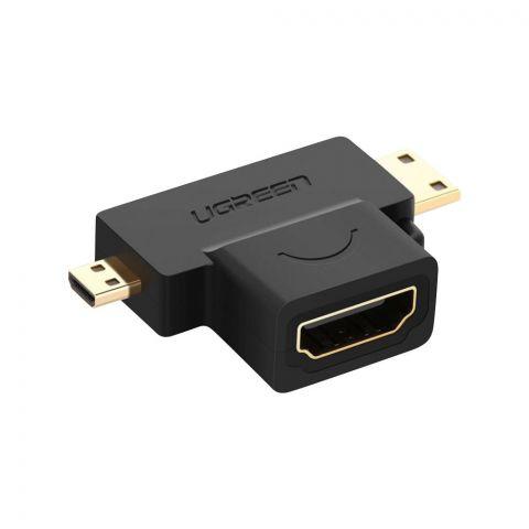 UGreen Micro HDMI + Mini HDMI Male To HDMI Female Adapter, Black, 20144