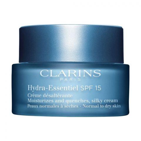 Clarins Paris Hydra-Essentiel SPF 15 Silky Cream, Moisturizes & Quenches, Normal To Dry Skin, 50ml