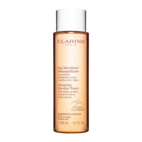 Clarins Paris Cleansing Micellar Water, With Alpine Golden Gentian & Lemon Balm Extracts, 200ml