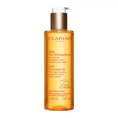 Clarins Paris Total Cleansing Oil, With Alpine Golden Gentian & Lemon Balm Extracts, 150ml