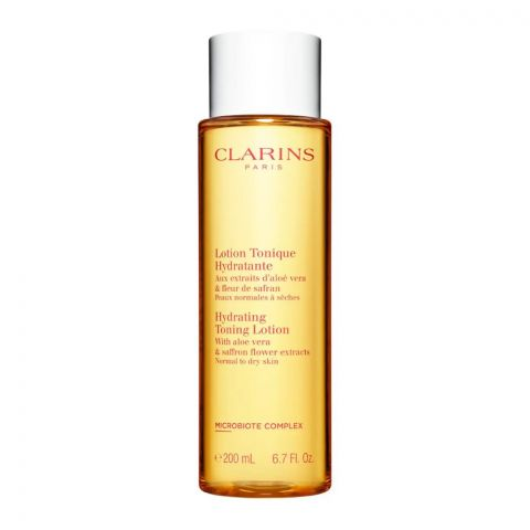 Clarins Paris Hydrating Toning Lotion, With Aloe Vera & Saffron Flower Extracts, Normal To Dry Skin, 200ml