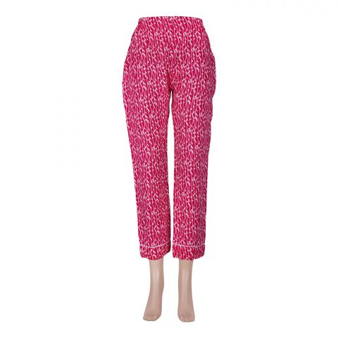 Basix Women's Linen Pajama, Pin Leaf Pink/White, 105-A