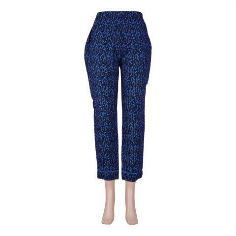 Basix Women's Linen Pajama, Pin Leaf Black/Blue, 105-B