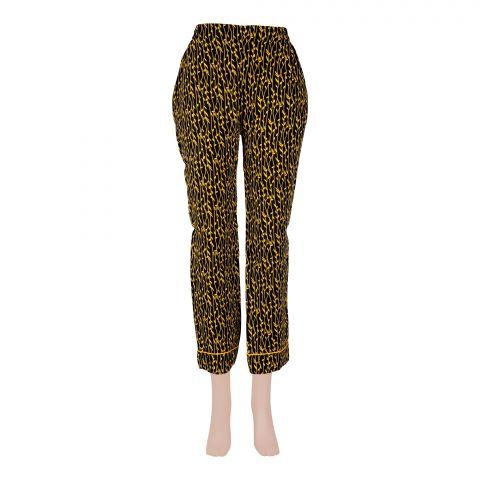 Basix Women's Linen Pajama, Pin Leaf Black/Yellow, 105-C