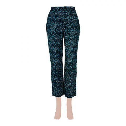 Basix Women's Linen Pajama, Pin Leaf Black/Sea Green, 105-D