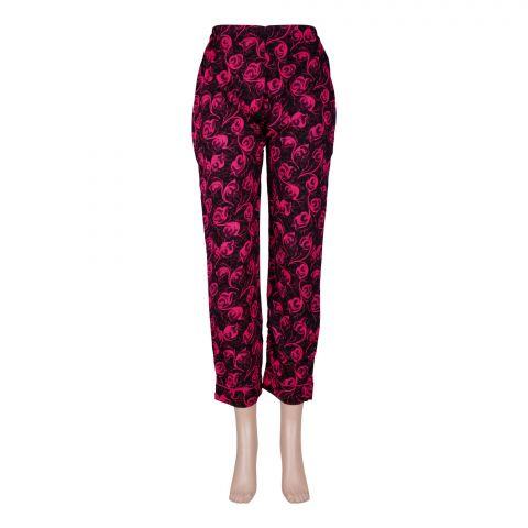 Basix Women's Linen Pajama, Black/Pink Flower, 106