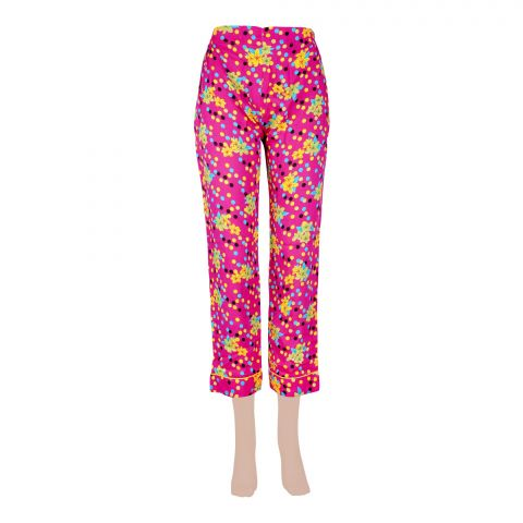 Basix Women's Linen Pajama, Pink/Yellow Dots/Flower, 107