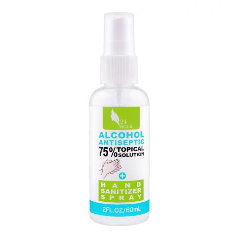 24 Hour Alcohol Antiseptic 75% Topical Solution Hand Sanitizer Spray, 60ml