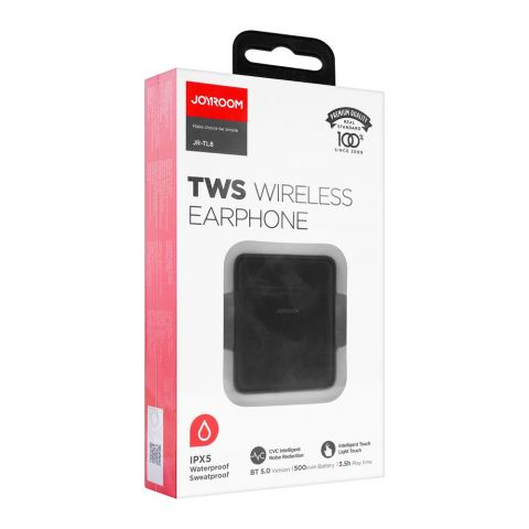 Joyroom IPX5 Waterproof TWS Wireless Earphone, Black, JR-TL8