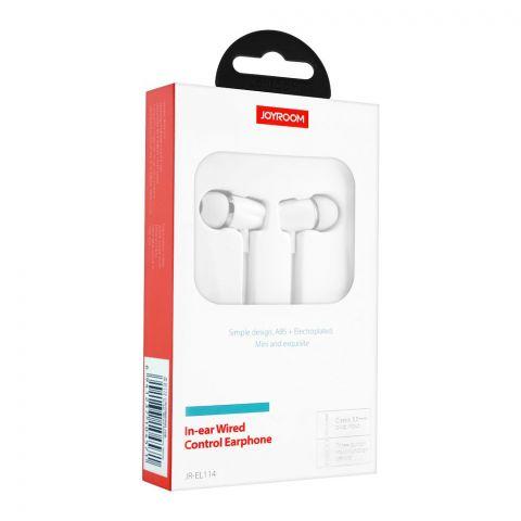 Joyroom In-Ear Wired Control Earphone, White, JR-EL114