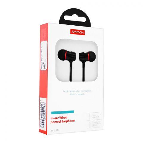 Joyroom In-Ear Wired Control Earphone, Black, JR-EL114