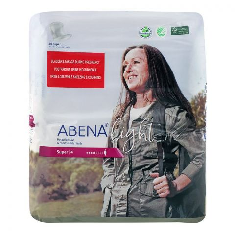 Abena Light Bladder Protection Super Pads, No. 4, 30-Pack