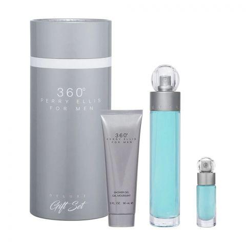 Perry Ellis 360 For Men Perfume Set, EDT 100ml + Body Spray 200ml + Shower Gel 90ml + EDT 7.5ml