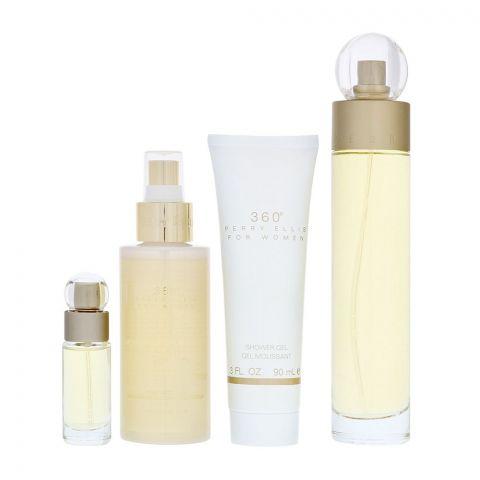 Perry Ellis 360 For Women Perfume Set, EDT 100ml + Body Mist 118ml + Shower Gel 90ml + EDT 7.5ml