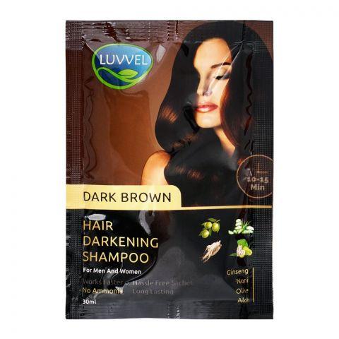 Luvvel Hair Darkening Shampoo, Dark Brown, For Men & Women, 30ml