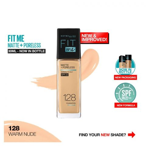 Maybelline New York New Fit Me Matte + Poreless Foundation, 128 Warm Nude, 30ml