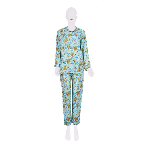 Basix Women's Linen Pajama Suit, Light Green and Flowers